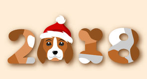 Happy Chinese New Year 2018, Face Dog in Santa Hat stock illustration