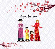 Happy Chinese New Year with happy family and long dress. Happy Chinese New Year with happy family and long dress stock illustration