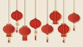 Happy Chinese new year. Festive red lanterns set on background. Vector illustration Stock Photography