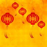 Happy Chinese new year. Festive red lanterns on a yellow background. Vector illustration Royalty Free Stock Photography