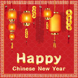 Happy chinese new year with firecrackers and chinese lantern. A happy chinese new year with firecrackers and chinese lantern Stock Photos