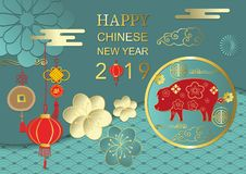 Happy chinese new year with flower,circle,cloud,pig in paper cut. Art and craft style vector illustration