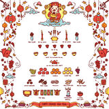 Happy Chinese New Year.God of Wealth. Vector Illustration of Chinese God of Wealth `Tsai Shen Yeh` Worshiped Offering Sacrifices On Chinese New Year. The Chinese royalty free illustration