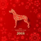 Happy Chinese new year 2018 with gold flowers in dog zodiac sign on red flower background vector design Royalty Free Stock Photos