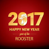 Happy Chinese new year 2017 with golden rooster Stock Images