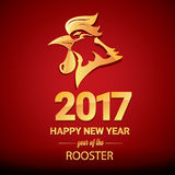 Happy Chinese new year 2017 with golden rooster. Animal symbol of new year 2017 Stock Photos