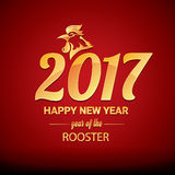 Happy Chinese new year 2017 with golden rooster. Animal symbol of new year 2017 Stock Image