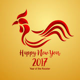Happy Chinese new year 2017 with golden rooster. Animal symbol of new year 2017 Royalty Free Stock Image