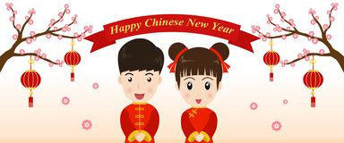 Happy Chinese New Year greeting card with cute boy and girl. In Chinese costume