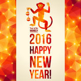Happy Chinese New Year 2016 Greeting Card. Dancing. Happy Chinese New Year 2016 Greeting Card. Vector Illustration. Year of the Monkey. Geometric Shining Pattern Stock Photography