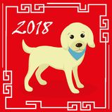 Happy chinese new year 2018 greeting card with a dog. China new year template for your design. Vector illustration. Stock Images