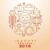 Happy Chinese New Year 2016 Greeting Card Icons Symbol - Vector. Flat line design art Royalty Free Stock Photography