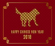 Happy Chinese new Year 2018 greeting card with dog on traditional oriental wave pattern. Happy Chinese new Year 2018 greeting card on traditional oriental wave stock illustration