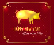 Happy Chinese new Year 2019 greeting card on traditional oriental wave pattern background. Year of the Pig gold symbol silhouette on the Chinese calendar vector illustration