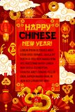 Happy Chinese New Year vector dragon greeting card stock illustration