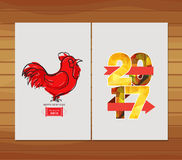 Happy Chinese New Year 2017 Greeting Card. Year of the Rooster.  Stock Photo