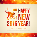 Happy Chinese New Year 2016 Greeting Card. Year of. Happy Chinese New Year 2016 Greeting Card. Vector Illustration. Year of the Monkey. Geometric Shining Pattern Stock Image