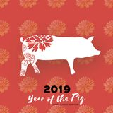 Happy Chinese New Year Greetings card in papre cut style. Orgami 2019 Zodiac sign. Year of the Pig. Flower Peony. Space. For text. Red. Vector stock illustration