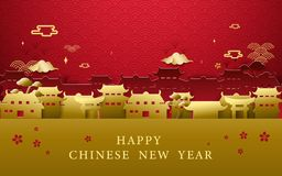 Happy Chinese new year greetings. Gold and red Chinese village background. Illustration vector royalty free illustration