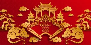 Happy chinese new year 2020. Zodiac sign with gold rat paper cut art and craft style on color Background. Chinese Translation : Year of the rat stock illustration
