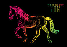 Happy Chinese New Year of horse 2014. 2014 Chinese New Year of the Horse illustration with colorful lines over black background. EPS10 vector file with Stock Photo