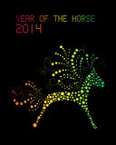 Happy Chinese New Year of horse 2014 postcard. Chinese New Year 2014. Abstract Rainbow color horse over black background. EPS10 vector file with transparency royalty free illustration