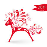 Happy Chinese New Year of the Horse postcard. 2014 Chinese New Year of the Horse cute ornament silhouette  illustration. EPS10 vector file with transparency Royalty Free Stock Photography