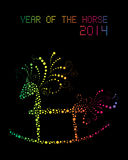 Happy Chinese New Year of horse 2014 postcard. Chinese New Year 2014. Rainbow glowing rocking horse over black background. EPS10 vector file with transparency stock illustration