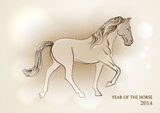 Happy Chinese New Year of horse 2014 postcard Stock Images