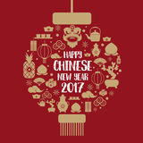 Happy chinese new year 2017 icons set form Chinese lantern.  Royalty Free Stock Photos