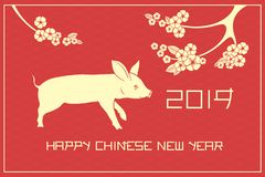 Happy chinese new year illustration with pig and sakura blossom royalty free stock images