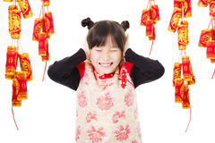 Happy chinese new year. kids playing with firecracker Royalty Free Stock Photography