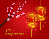 Happy Chinese New Year with Lamp Background Royalty Free Stock Photography