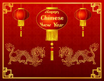 Happy chinese new year with lantern and golden dragon Royalty Free Stock Photos