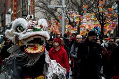 Happy Chinese New Year Lion Dance Royalty Free Stock Photography