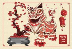 Happy chinese new year lion dance and flowers illustration by line art vector color on background asia pattern. Chinese new year lion dance and flowers royalty free illustration