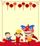 Happy Chinese New Year/Lion Dance. Illustration of Happy Chinese New Year/Lion Dance Stock Photo