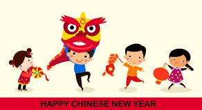 Happy Chinese New Year/Lion Dance Royalty Free Stock Photo