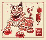 Happy chinese new year lion dance lanterns and flowers illustration by line art vector color on background asia pattern