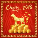 Happy Chinese New year 2018. With Millionaire Dog stand on Chinese gold coin pile /Year of the dog