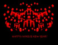 Happy Chinese New Year: minimalist red sketch of lanterns on bla Stock Photos