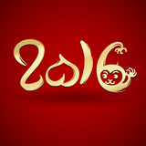 Happy Chinese new year monkey. Happy Chinese new year 2016 card, Gold monkey, great for your design Stock Photo