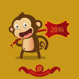 Happy Chinese New Year. Monkey cartoon character. Royalty Free Stock Photography