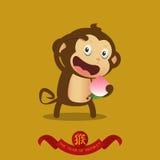 Happy Chinese New Year. Monkey cartoon character. Stock Photo