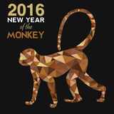 2016 Happy Chinese New Year of the Monkey with fancy golden low polygon triangle ape and label illustration Stock Photos