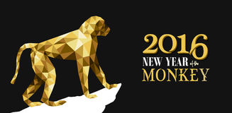 Happy chinese new year monkey gold low poly ape Royalty Free Stock Image