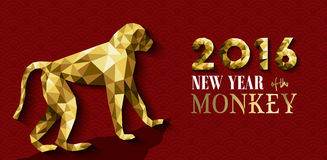 2016 happy chinese new year monkey gold low poly Stock Photos