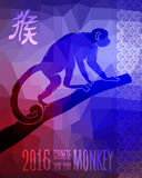 Happy chinese new year monkey 2016 greeting card. 2016 Happy Chinese New Year of the Monkey card background. China lunar horoscope colorful low poly concept Stock Photography