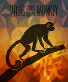 Happy chinese new year monkey 2016 greeting card. 2016 Happy Chinese New Year of the Monkey card background. China lunar horoscope colorful low poly fire concept royalty free illustration