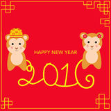 Happy Chinese New Year 2016 with monkey kids vector illustration. EPS10 Royalty Free Stock Photo